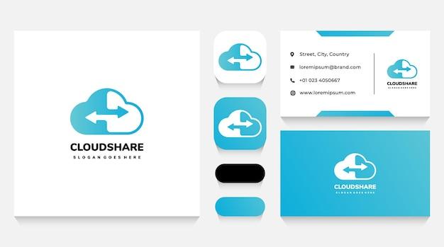 Modelo de logotipo e cartão de visita do cloud share and exchange