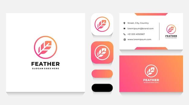 Modelo de logotipo e cartão de visita feather and education