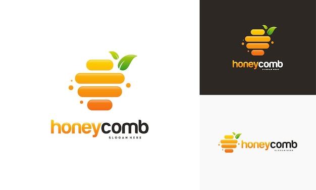 Modelo de logotipo e cartão de visita honeycomb