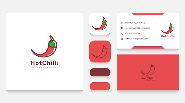 Modelo de logotipo e cartão de visita hot chilli