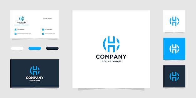 Modelo de logotipo e cartão de visita iniciais ch