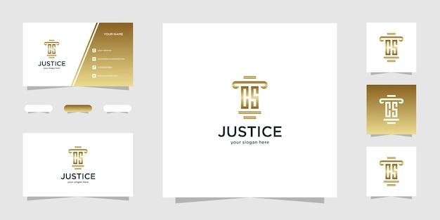 Modelo de logotipo e cartão de visita initial cs law firm