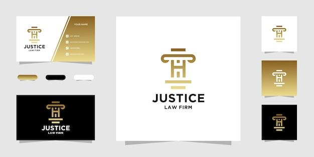 Modelo de logotipo e cartão de visita initial h law firm