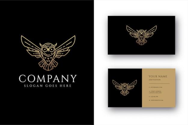 Modelo de logotipo e cartão de visita lineart coruja