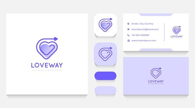 Modelo de logotipo e cartão de visita love way