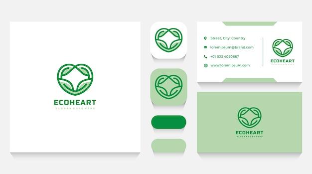 Modelo de logotipo e cartão de visita natural care