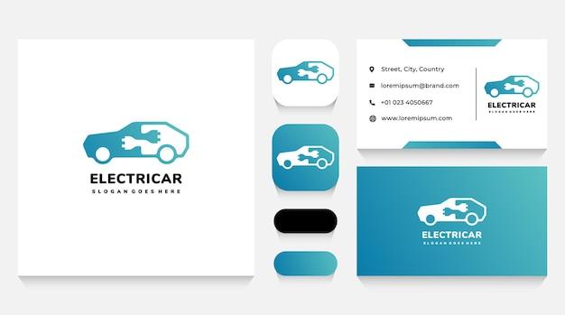 Modelo de logotipo e cartão de visita para energia elétrica e automotiva