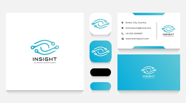Modelo de logotipo e cartão de visita vision tech