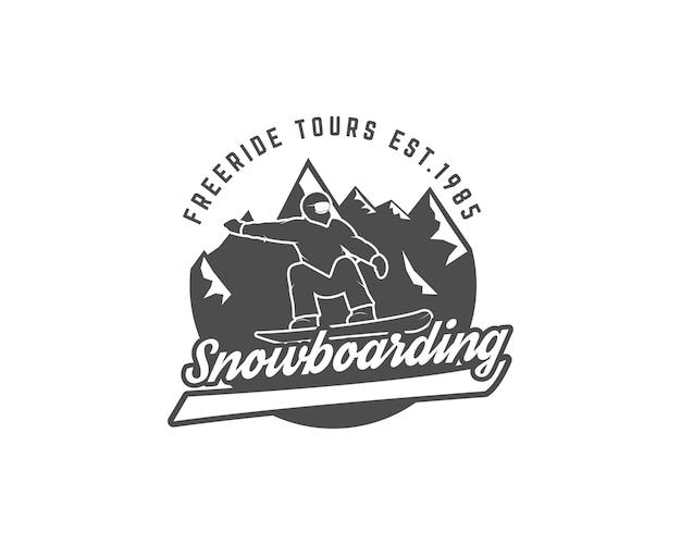 Modelo de logotipo e etiqueta de snowboard
