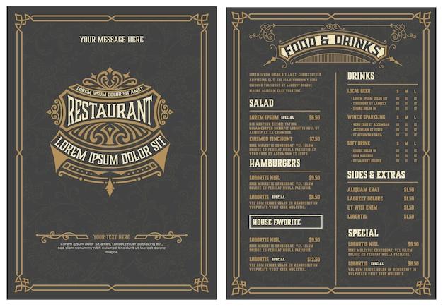 Modelo de logotipo e menu com design detalhado