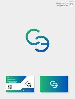 Modelo de logotipo e modelo de cartão de visita inicial ce ou ce criativo