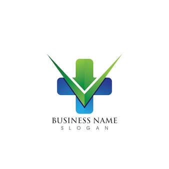 Modelo de logotipo e símbolo de hospital de saúde, vetor de logotipo verde