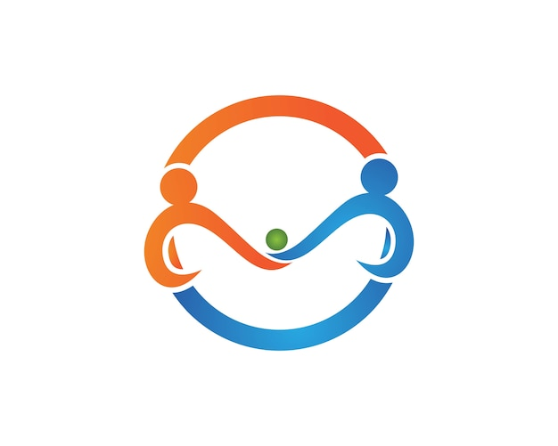 Modelo de logotipo e símbolos de amor de cuidados familiares