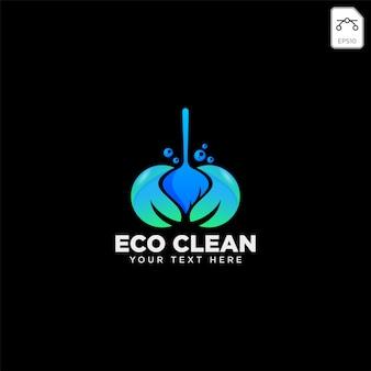 Modelo de logotipo eco casa de serviço de limpeza