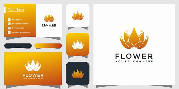 Modelo de logotipo elegante de flor de lótus