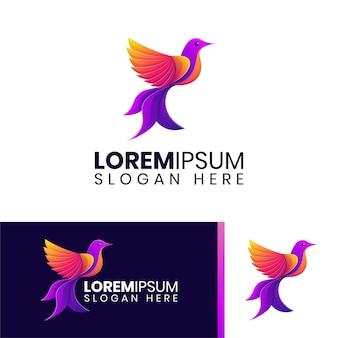 Modelo de logotipo elegante e colorido de pássaro pomba