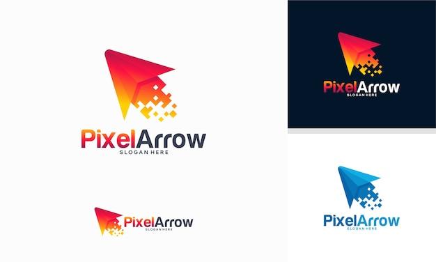 Modelo de logotipo elegante pixel arrow, conceito de design de logotipo fast cursor, modelo de logotipo pixel cursor
