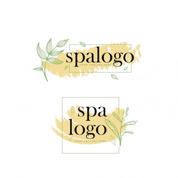 Modelo de logotipo elegante spa botânico