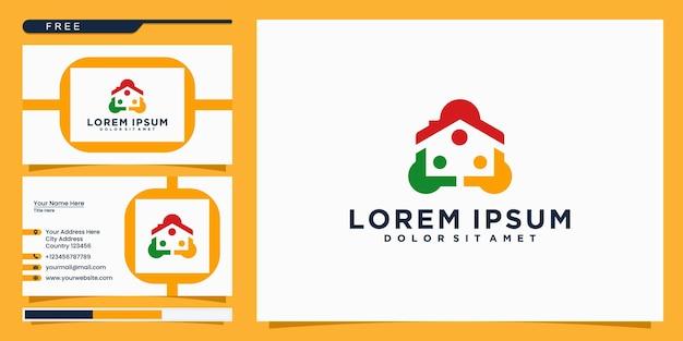Modelo de logotipo em casa da família. design de logotipo e cartão de visita