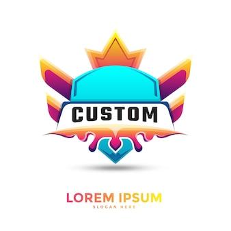 Modelo de logotipo em gradiente de crachá