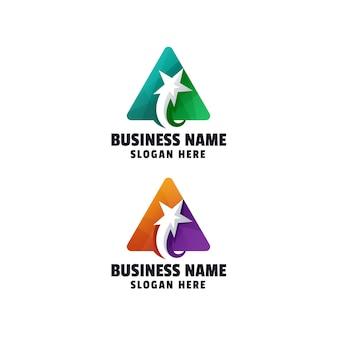Modelo de logotipo em gradiente de letra a abstrato