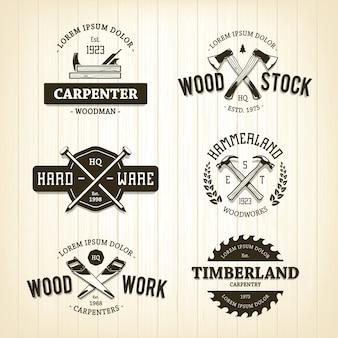 Modelo de logotipo em madeira
