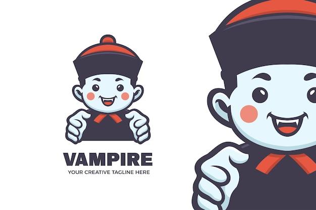 Modelo de logotipo engraçado da mascote do dia das bruxas do vampiro drácula