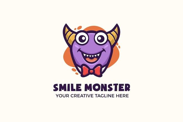 Modelo de logotipo engraçado do mascote do monstro roxo