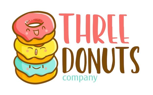Modelo de logotipo engraçado kawaii de desenho animado para empresa ou loja de 3 donuts