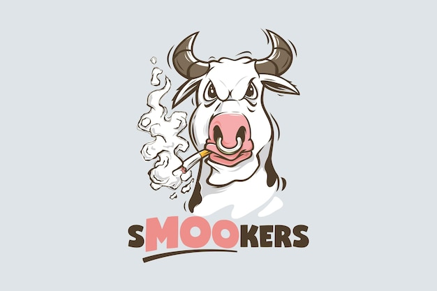 Modelo de logotipo engraçado vaca fumando cigarro