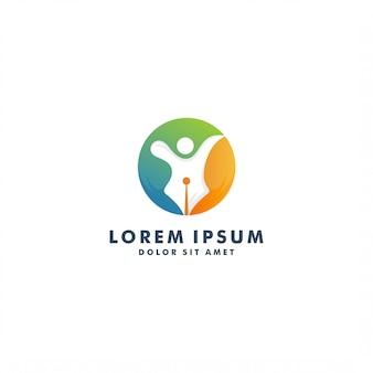 Modelo de logotipo escritor criativo. desenho abstrato pessoas - vector