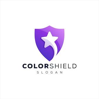 Modelo de logotipo escudo e estrela