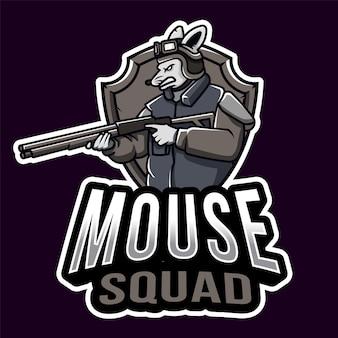 Modelo de logotipo esport do esquadrão do mouse