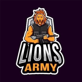 Modelo de logotipo esport do exército de leão