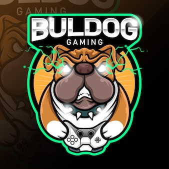 Modelo de logotipo esport do vetor de estoque de angry buldog gaming