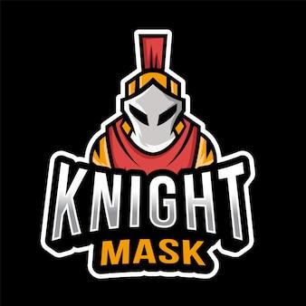 Modelo de logotipo esportista de máscara de cavaleiro