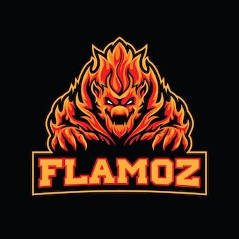 Modelo de logotipo esportivo de monstro de chama