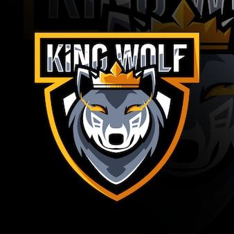 Modelo de logotipo esportivo rei mascote lobo