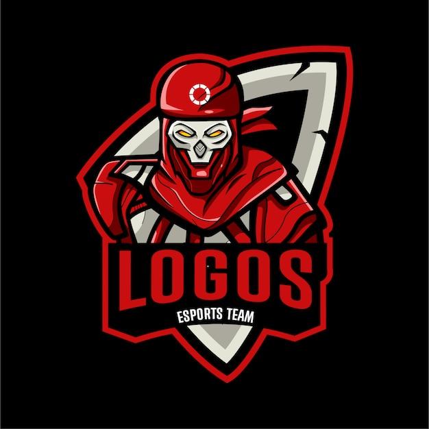 Modelo de logotipo esports cabeça de caveira