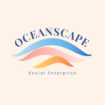 Modelo de logotipo estético do oceano, ilustração criativa de água para vetor de negócios