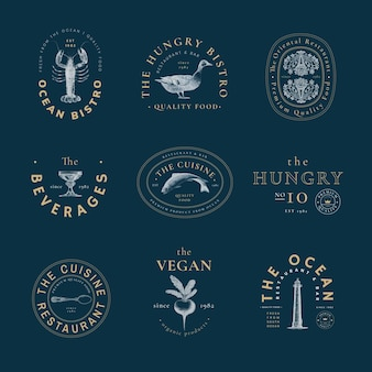 Modelo de logotipo estético para conjunto de restaurante, remixado de obras de arte de domínio público
