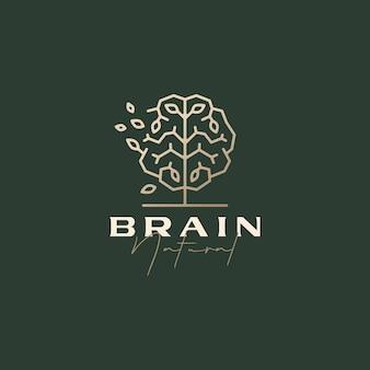 Modelo de logotipo estético sofisticado de folha natural inteligente árvore cerebral