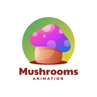 Modelo de logotipo estilo gradiente colorido de cogumelos