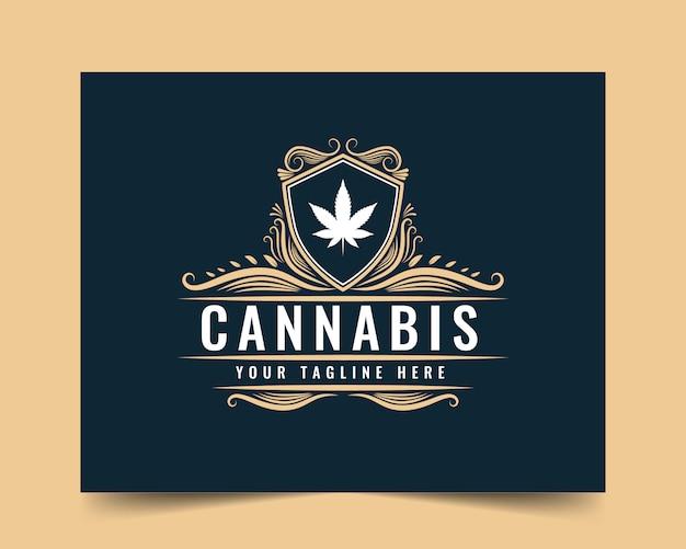 Modelo de logotipo estilo vintage luxo cannabis desenhado à mão com cor dourada para a empresa