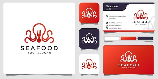 Modelo de logotipo, etiqueta e emblema com frutos do mar com cartão de visita. ilustração vetorial.