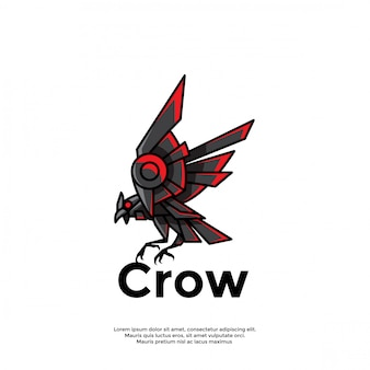 Modelo de logotipo exclusivo corvo robótico
