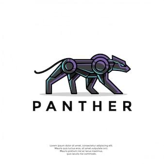 Modelo de logotipo exclusivo pantera robótica