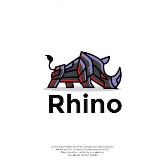 Modelo de logotipo exclusivo rinoceronte robótico