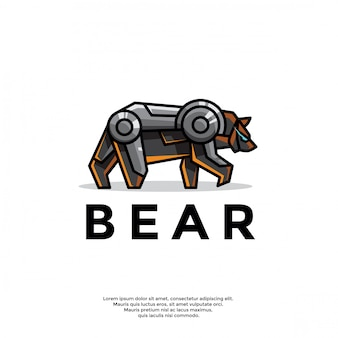 Modelo de logotipo exclusivo urso robótico