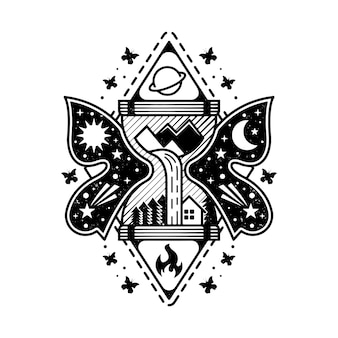Modelo de logotipo fantasia de ampulheta com paisagem